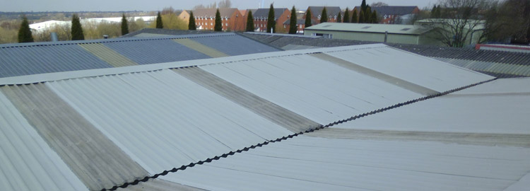 Overcoated industrial roof with Acrypol Metal Kote in Aldridge Walsall