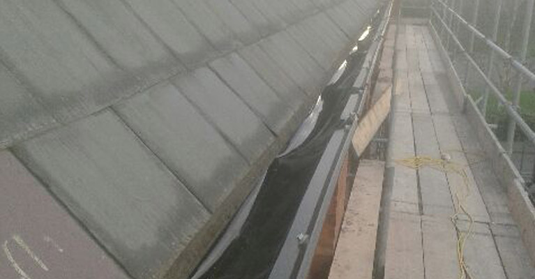Plygene gutter liner in position