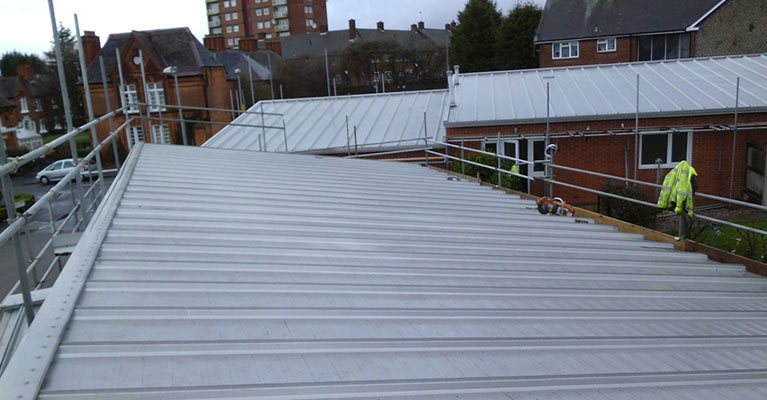 A close up view of the single skin metal roofing