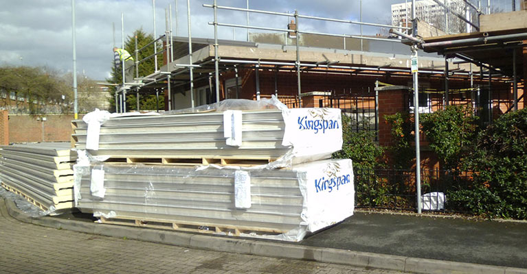 Kingspan panels ready for our Kingspan roofing installers in Birmingham