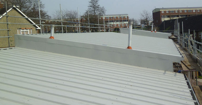 Kingspan composite roofing installed on block two