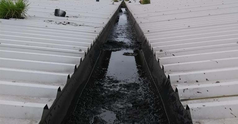 View along 100m industrial valley gutter with detritus build-up.