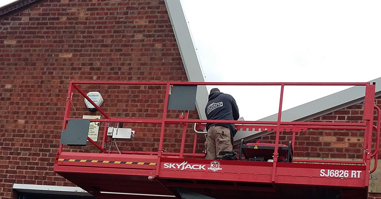 IRM industrial roofing expert in Coventry working at height.