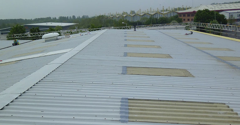 Giromax basecoat applied to top of cleaned rooflights