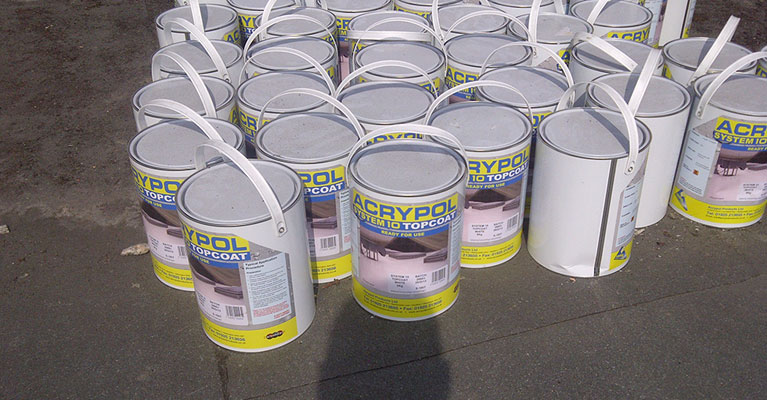 Tins of Acrypol System 10 Topcoat