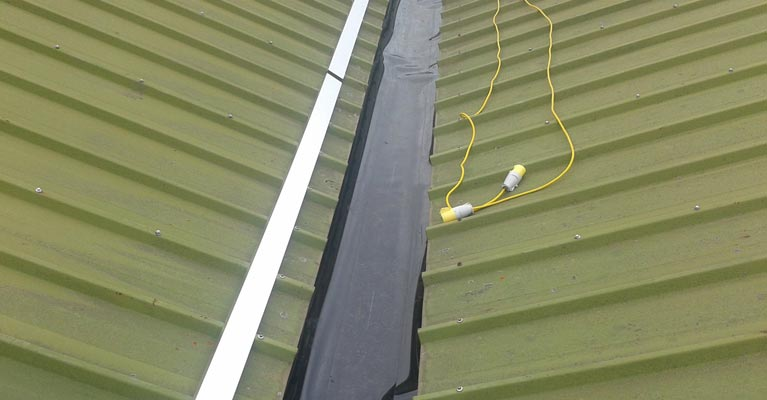Plygene liner laid in the 60 linear metre valley gutter