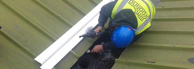 IRM Roofing carrying out Plygene gutter repairs in Stafford