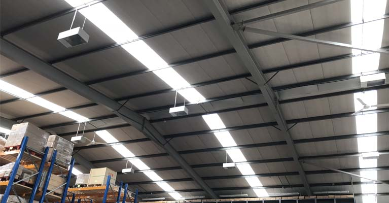 Internal view of the completed GRP roof lights installation in Telford.