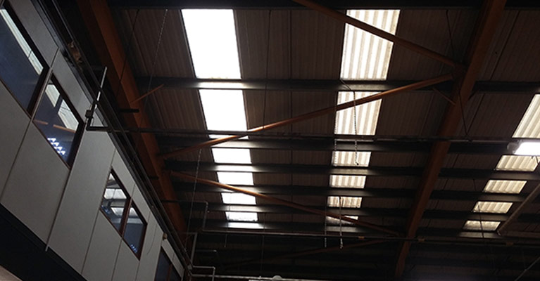 Inside view showing vast difference between old and new grp rooflights