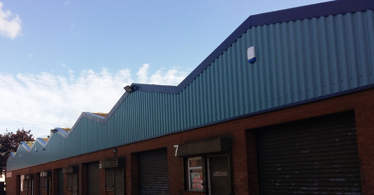 Finished industrial wall sheeting in Walsall.
