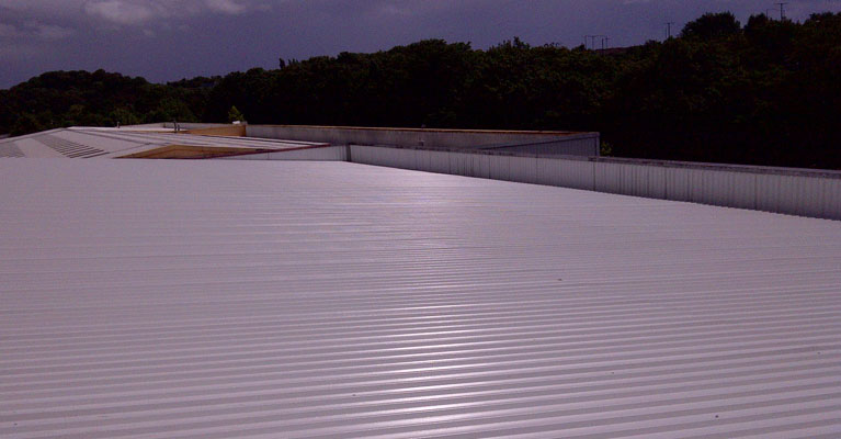 View across industrial roof refurbishment in Walsall