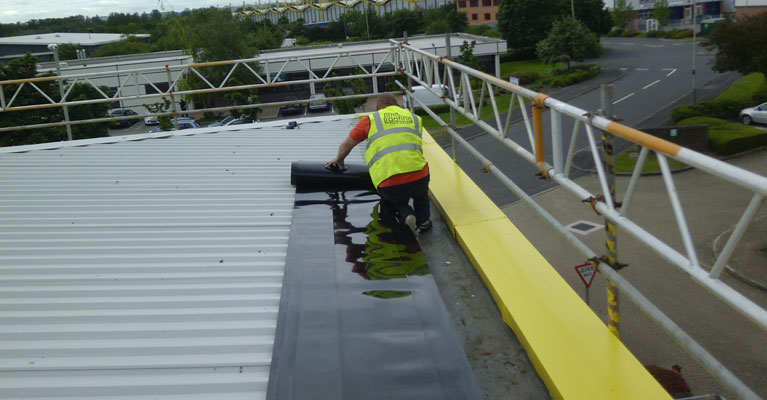 Plygene Gutterline installed on industrial roofing